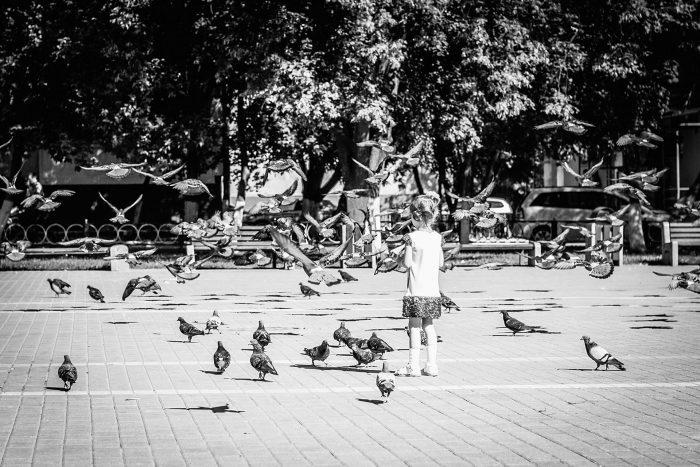 Раменское у фонтана с голубями