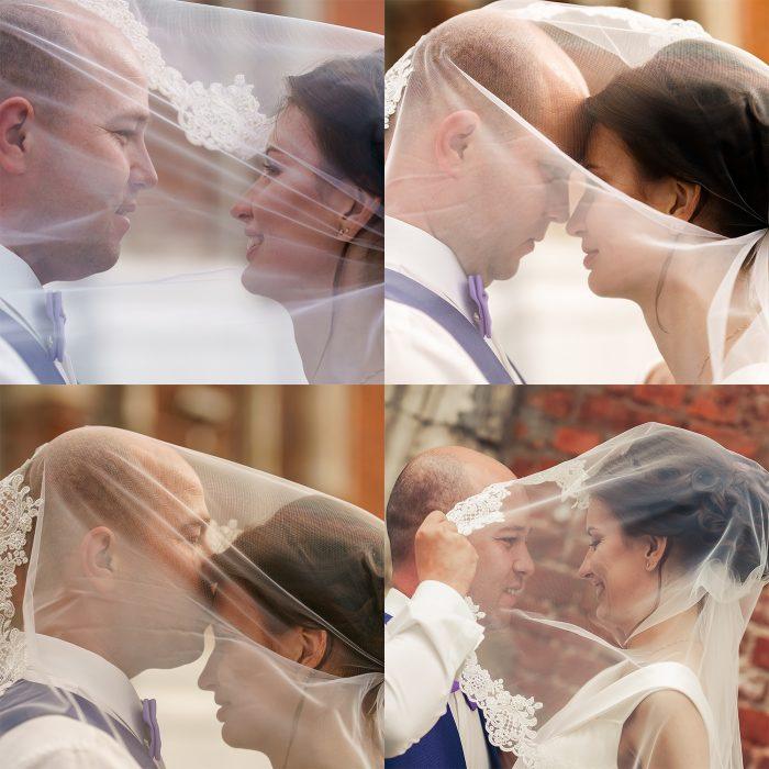 Свадебное фото с фатой
