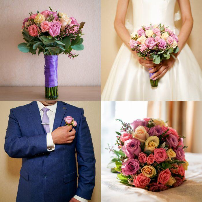 Свадебное фото с букетом